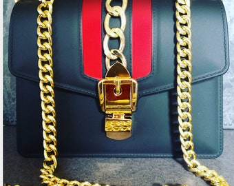 Gold Color Link , Black with Red Accented Stripe Purse