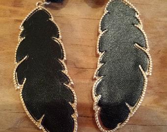 Black Leaf, Gold Trimmed Earrings