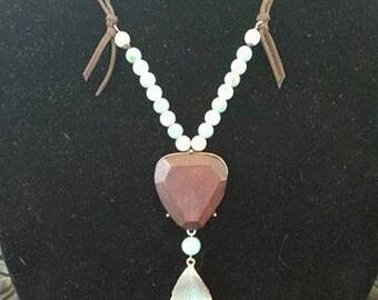 Turquoise leaf medallion necklace