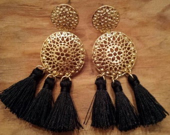 Gold Color Filigree Black Tassel  Earrings
