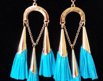 Turquoise, Gold Color Raffia Earrings