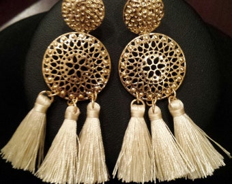 Gold Color Filigree Cream Tassels  Earrings