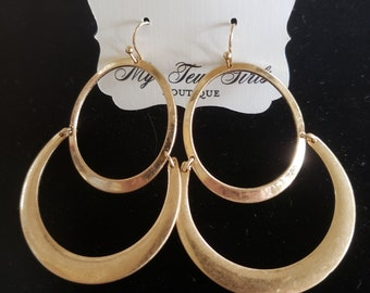Gold Color Multiple Layer Earrings