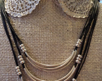 Black Cord Multiple Layers Vintage Silver Color Bars