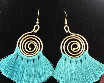 Turquoise  Fringe Gold Color Spiral Earrings