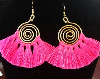 Hot Pink Fringe Gold Color Spiral Earrings
