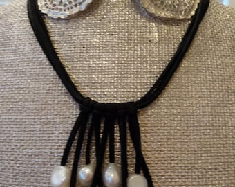Black Suede   Pearl Dropped Necklace