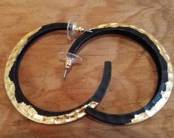 Black  & Gold Hoop Earrings