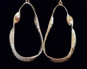 Gold Color Wavy Teardrop Shape Earrings