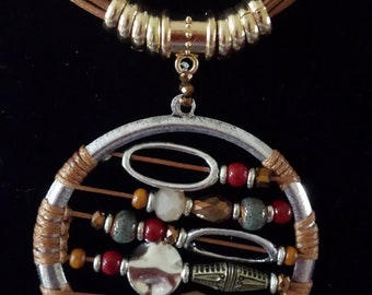 Brown Corded Multiple  Color Beads