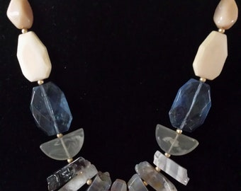 Wood, Blue Acrylic Beads with uneven Fringe Gray Stone Necklace