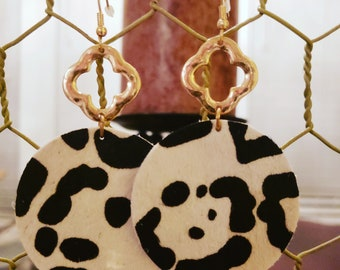 Gold Color Clover Shape with Circle Animal Print Earrings