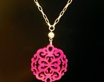 Zenzii  Hot Pink Damask Medallion Gold Color Chain