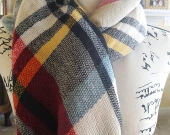 Blue/Red/Black Plaid Blanket Scarf
