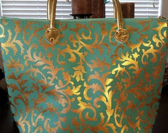 Metallic Gold Ivy Damask Tote