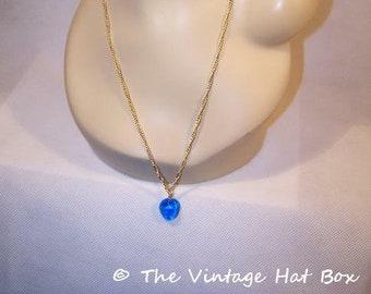 Vintage Bright Blue Stone Necklace