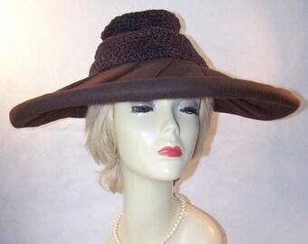Vintage 1940's Chocolate Wide Brim Pleated Felt Hat