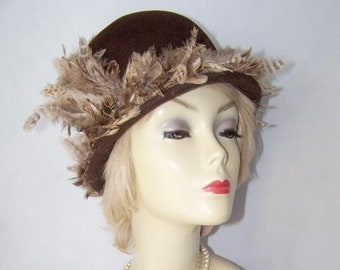 Vintage 1950's Coffee Brown Velour Felt Hat with New Feather Trim