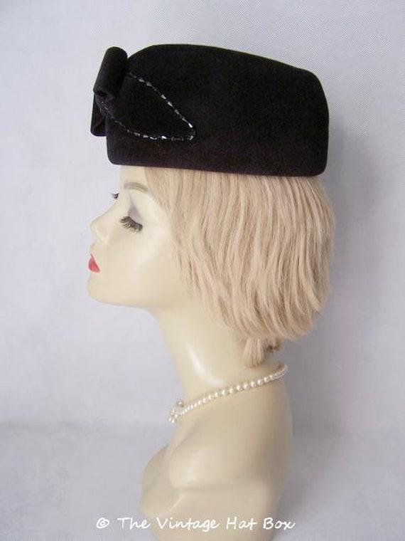 Vintage 1950/60's Black Fur Felt Hat - image 2