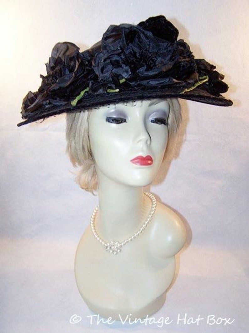 Vintage 1950's Black Wide Brim Hat image 0