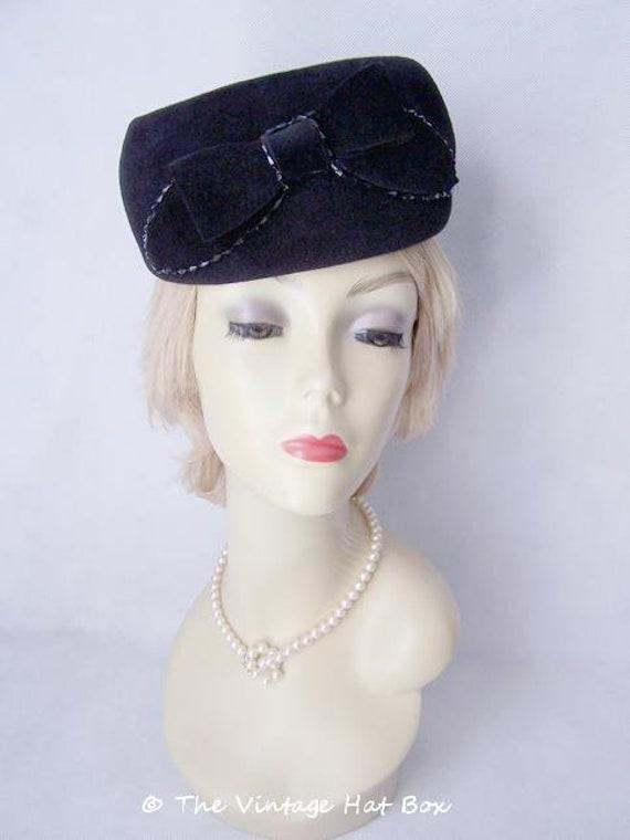 Vintage 1950/60's Black Fur Felt Hat - image 1