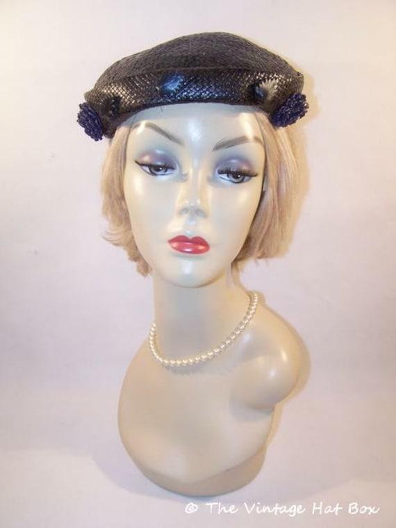 Vintage 1950's Midnight Blue Straw Hat - image 1