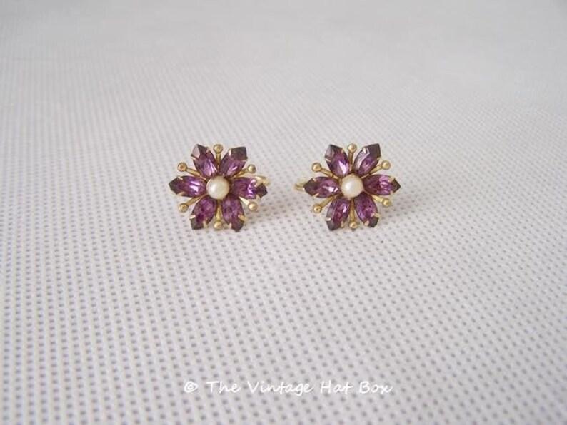 Vintage Amco Flower Petal 12K Gold Filled Earrings image 0