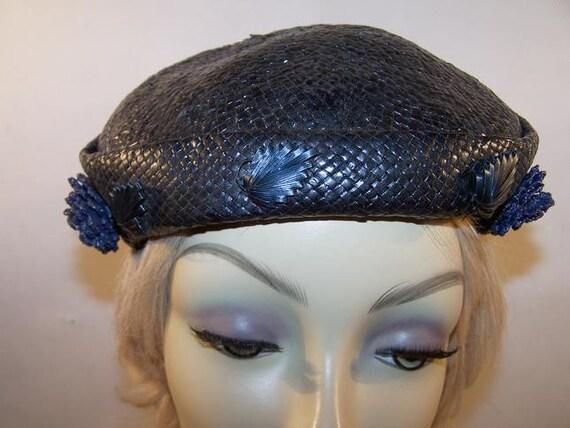Vintage 1950's Midnight Blue Straw Hat - image 7