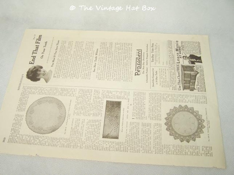 Vintage 1919 Needlecraft Magazine Pages Pepsodent image 0