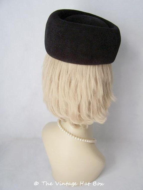 Vintage 1950/60's Black Fur Felt Hat - image 3