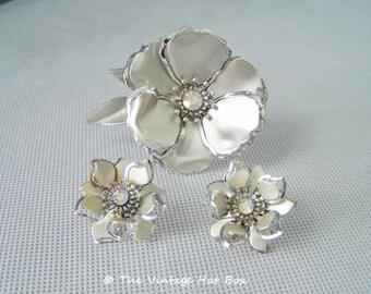 Vintage 1960's Silver Flower Demi Parure
