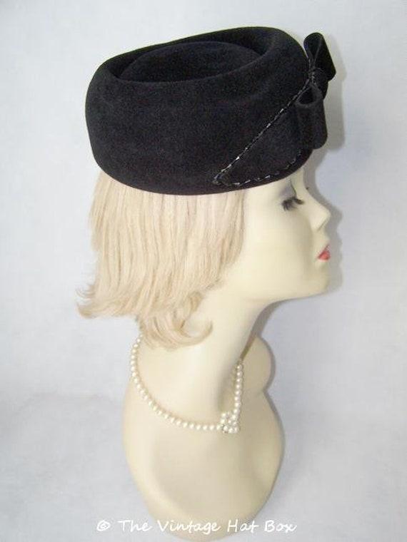 Vintage 1950/60's Black Fur Felt Hat - image 4