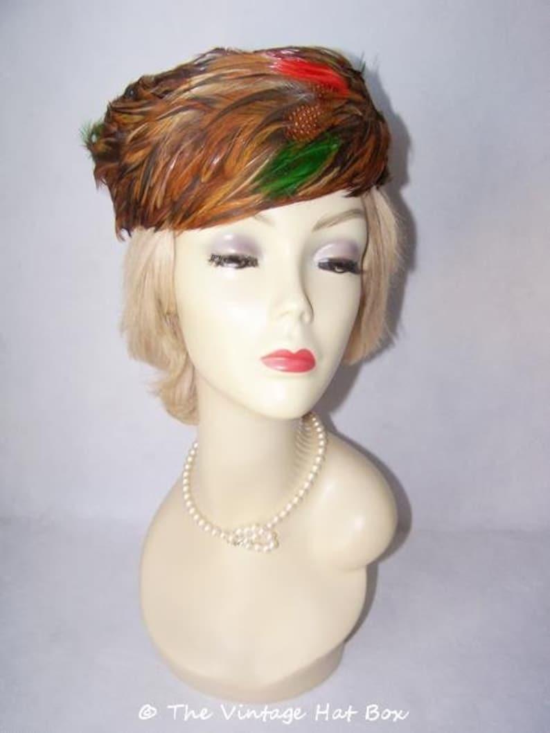 Vintage 1950's Multi Color Feather Hat image 0