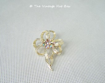 Vintage Flower Shaped Pin with AB Rhinestones