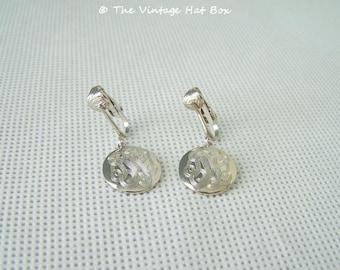 Vintage Silver Medallion Dangle Earrings