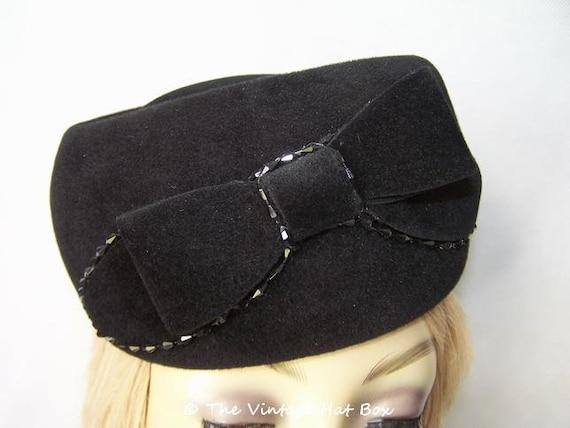Vintage 1950/60's Black Fur Felt Hat - image 5