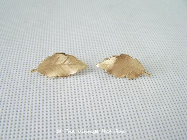 Vintage Coro Gold Leaf Earrings image 0