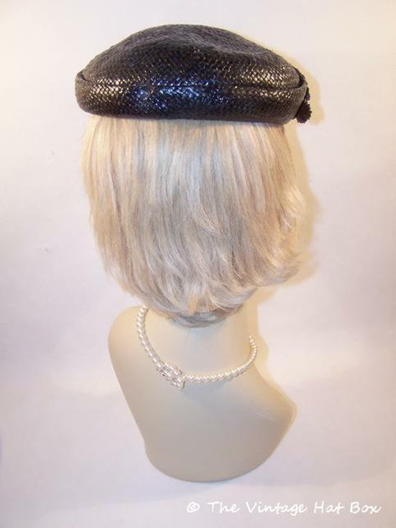 Vintage 1950's Midnight Blue Straw Hat - image 3