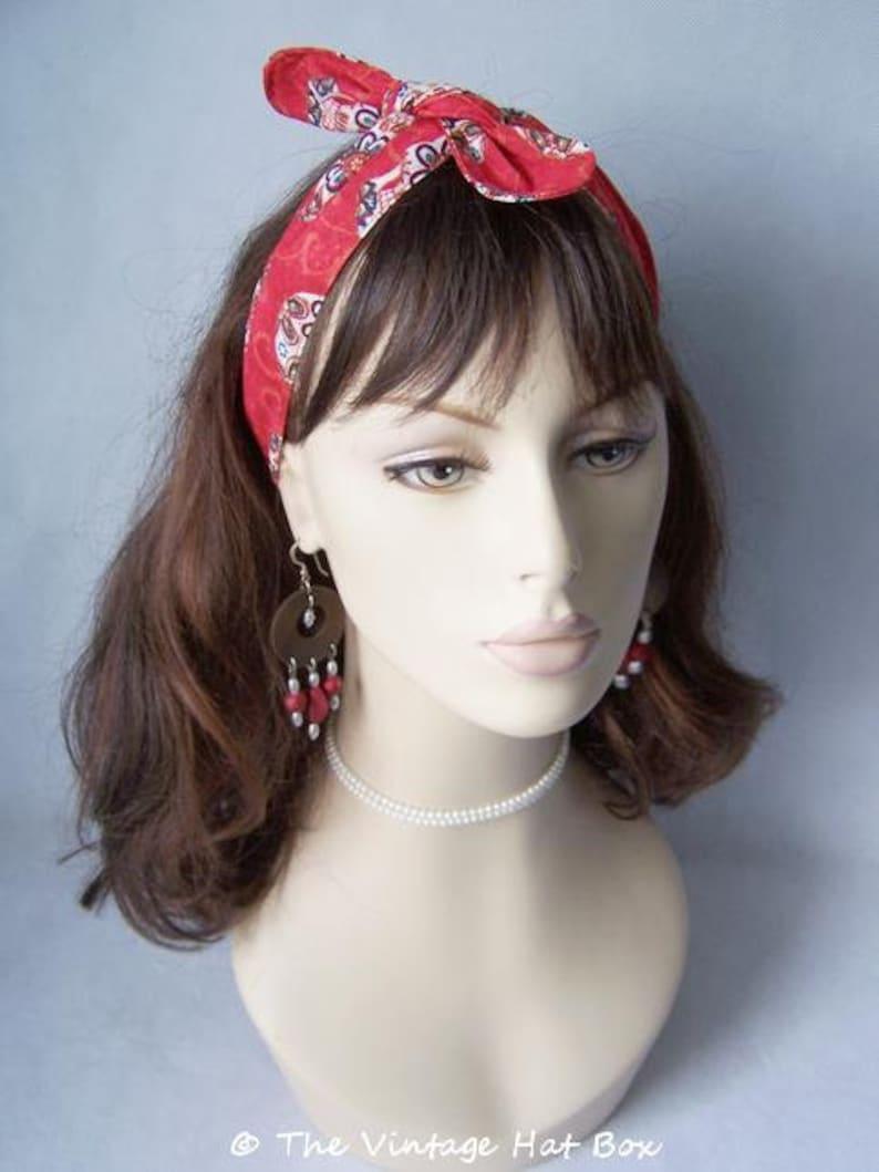 Vintage Inspired Head Wrap in Red Sugar Skull Print image 0