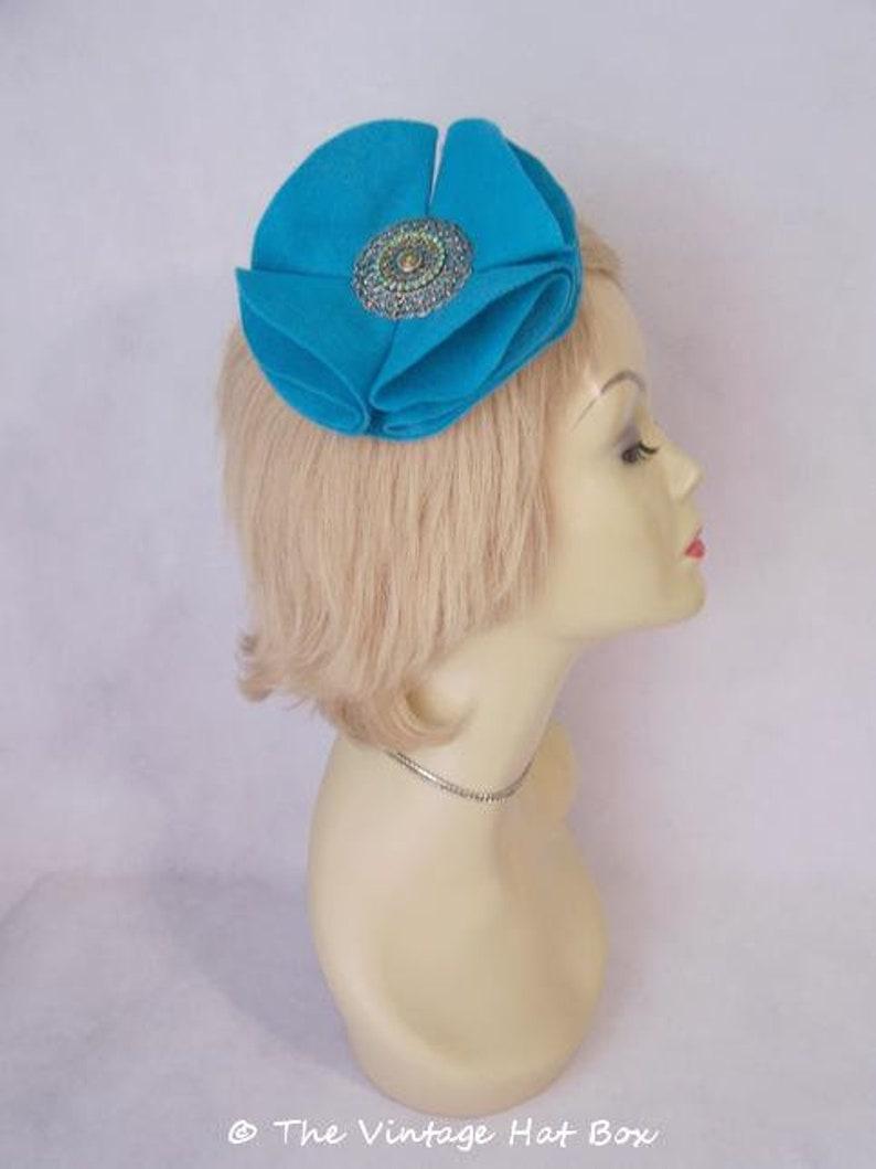 Handmade Turquoise Blue Felt Flower Whimsey Hair Comb image 0