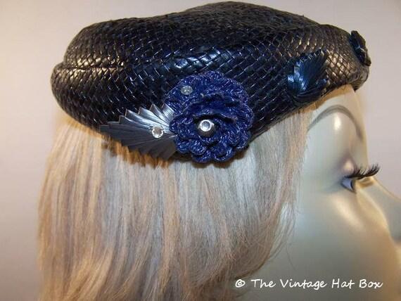 Vintage 1950's Midnight Blue Straw Hat - image 5