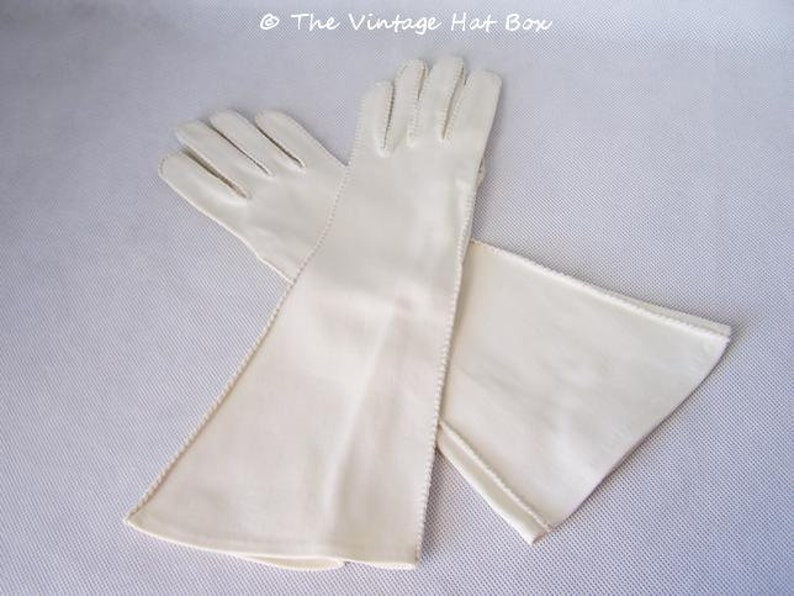 Vintage 1940's Handstitched Long Ivory Gauntlet Gloves image 0