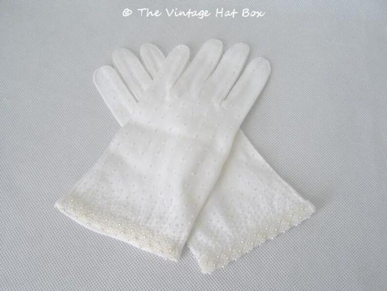 Vintage 1950's Short White Beaded Gloves image 0