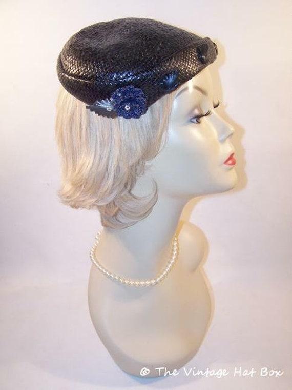 Vintage 1950's Midnight Blue Straw Hat - image 4