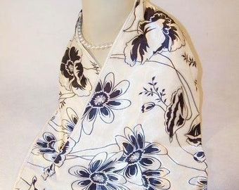 Vintage Ivory and Black Floral Print Scarf