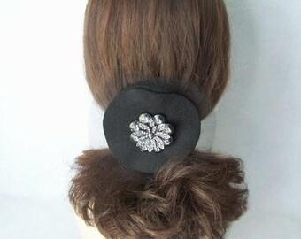 Black Rhinestone and Felt Hair Comb