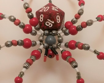 Red speckled D20 Beaded Spider