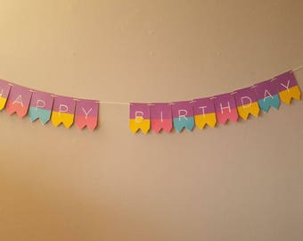 Customizable Happy Birthday Banner, Happy Birthday Girl, Happy Birthday Banner, Purple banner, girl banner, Happy Birthday, Handmade, Girl