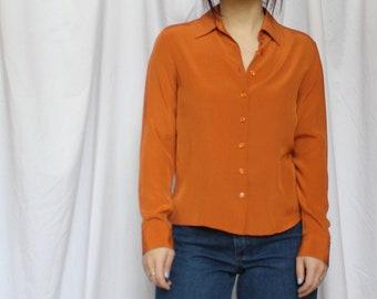 a44b4966e189b7 Petite 0 Orange Silk Long Sleeved Button Up   Size XS   1970s Inspired  Blouse   Minimal Silk Top   Petite Silk Blouse   Petite Small Shirt