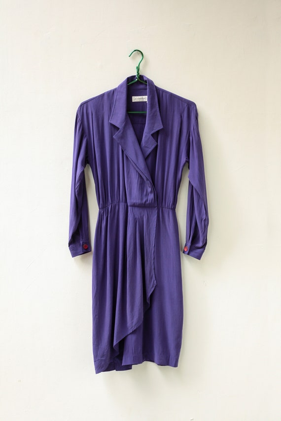 80s 90s Petite Small Purple Silk Dress / Long Slee